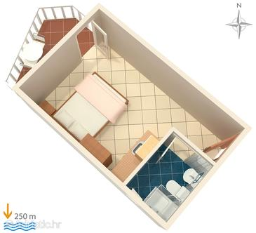 Mandre, Plan in the studio-apartment, dopusteni kucni ljubimci.