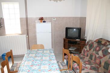 Stara Novalja, Jídelna v ubytování typu apartment, dostupna klima i dopusteni kucni ljubimci.