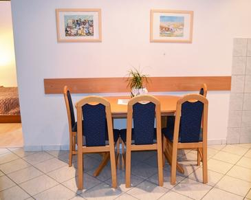 Smokvica, Dining room in the apartment, dostupna klima, dopusteni kucni ljubimci i WIFI.