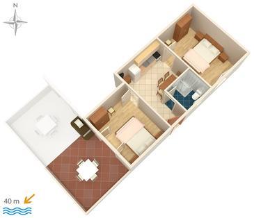 Stara Novalja, Plan kwatery w zakwaterowaniu typu apartment.