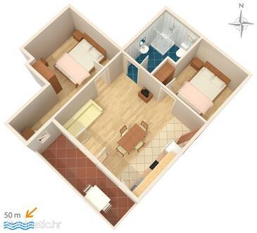 Stara Novalja, Plan dans l'hébergement en type apartment, WiFi.