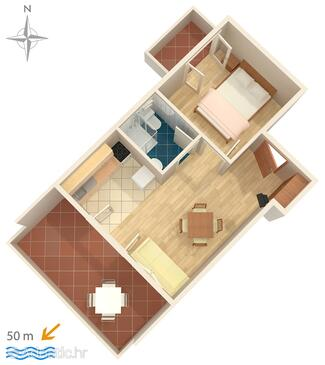 Stara Novalja, plattegrond in the apartment, WiFi.