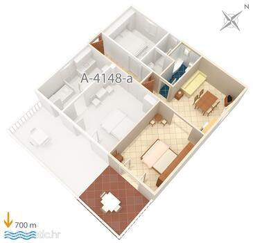 Vlašići, План в размещении типа studio-apartment, Домашние животные допускаются и WiFi.