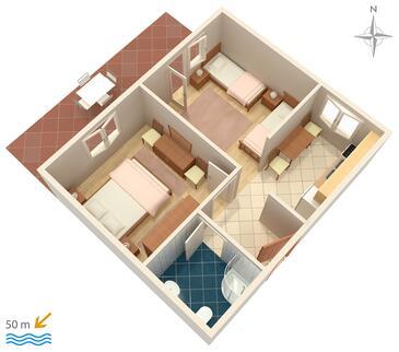 Pag, Plan kwatery w zakwaterowaniu typu apartment, zwierzęta domowe są dozwolone i WiFi.
