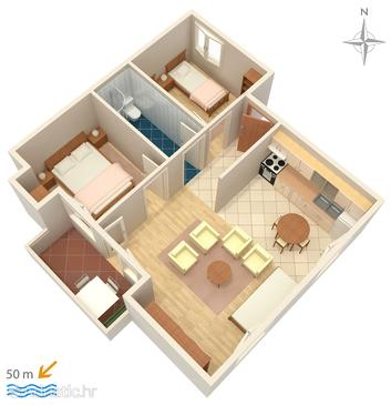Pag, Plan in the apartment, dopusteni kucni ljubimci i WIFI.