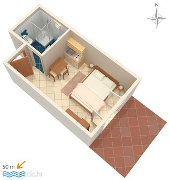 Pag, Plan in the studio-apartment, (pet friendly) and WiFi.
