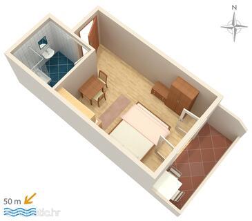 Pag, Půdorys v ubytování typu studio-apartment, domácí mazlíčci povoleni a WiFi.