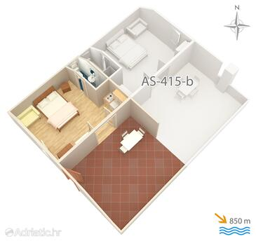Kornić, Plan in the studio-apartment, WIFI.