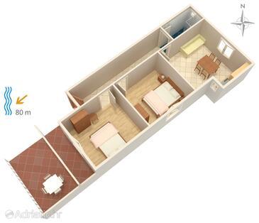 Metajna, Schema nell'alloggi del tipo apartment, animali domestici ammessi e WiFi.