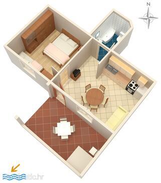 Stara Novalja, Půdorys v ubytování typu apartment, domácí mazlíčci povoleni a WiFi.