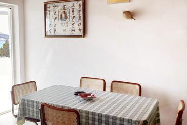 Stara Novalja, Jídelna v ubytování typu apartment, s klimatizací a WiFi.