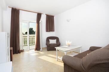 Rogoznica, Obývací pokoj v ubytování typu apartment, s klimatizací a WiFi.