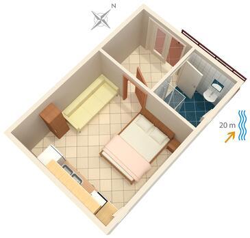 Bilo, Plan kwatery w zakwaterowaniu typu studio-apartment.