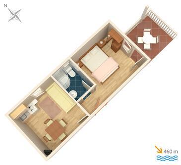 Vodice, Plan kwatery w zakwaterowaniu typu apartment, WIFI.