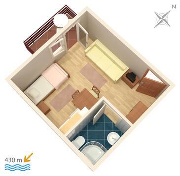 Vodice, Plan kwatery w zakwaterowaniu typu studio-apartment.