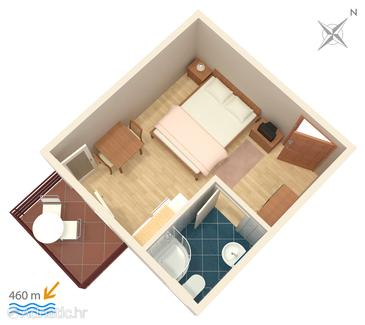 Vodice, Plan in the studio-apartment.