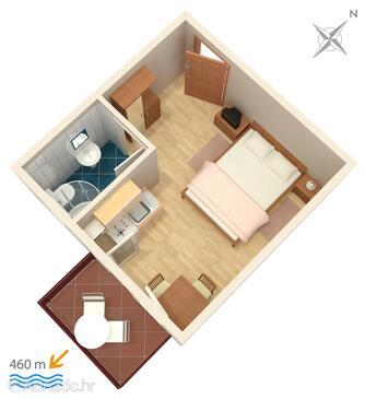 Vodice, Nacrt u smještaju tipa studio-apartment, WiFi.