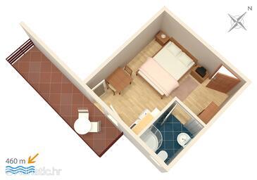 Vodice, Půdorys v ubytování typu studio-apartment, WiFi.