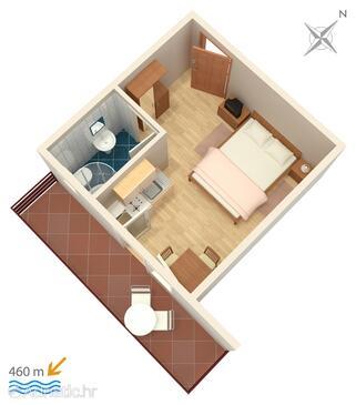Vodice, Plan in the studio-apartment, WiFi.