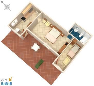Bilo, Půdorys v ubytování typu apartment, WiFi.