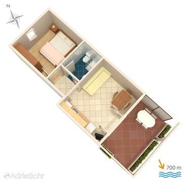 Krk, Plan in the apartment, dopusteni kucni ljubimci i WIFI.