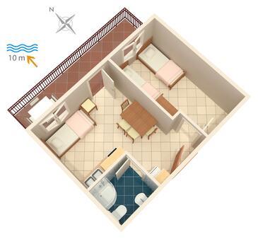 Bilo, Plan kwatery w zakwaterowaniu typu apartment, WiFi.