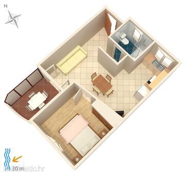 Brodarica, Půdorys v ubytování typu apartment, WiFi.