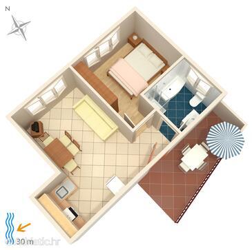 Brodarica, Plan in the apartment, WiFi.