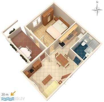 Bibinje, Půdorys v ubytování typu apartment, domácí mazlíčci povoleni a WiFi.