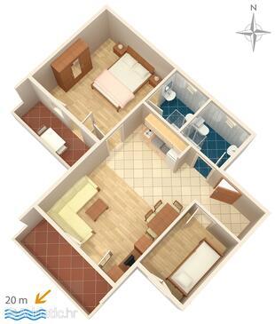 Bibinje, План в размещении типа apartment, Домашние животные допускаются и WiFi.