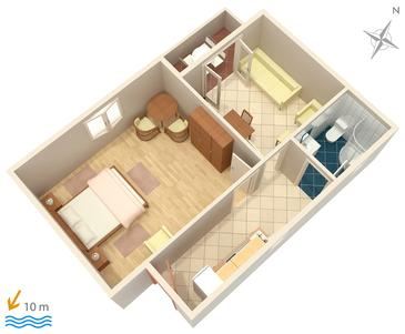 Vodice, Plan kwatery w zakwaterowaniu typu apartment, dopusteni kucni ljubimci i WIFI.
