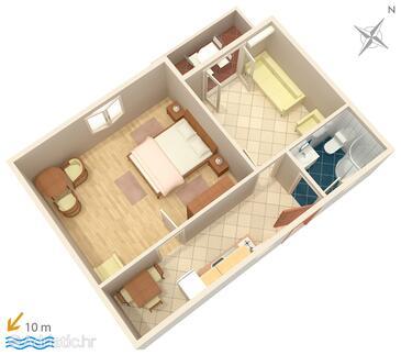 Vodice, План в размещении типа apartment, Домашние животные допускаются и WiFi.
