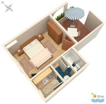 Vodice, Plan in the studio-apartment, dopusteni kucni ljubimci i WIFI.