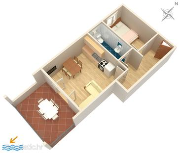 Tribunj, Plan in the apartment, dopusteni kucni ljubimci i WIFI.