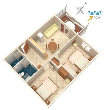 Bilo, Plan kwatery w zakwaterowaniu typu apartment.