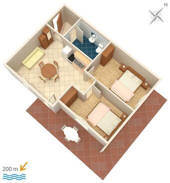 Tribunj, Plan kwatery w zakwaterowaniu typu apartment, dopusteni kucni ljubimci i WIFI.