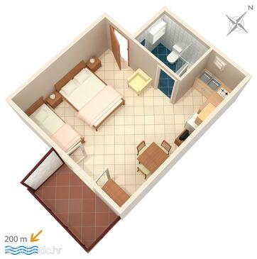 Tribunj, Plan in the studio-apartment, dopusteni kucni ljubimci i WIFI.