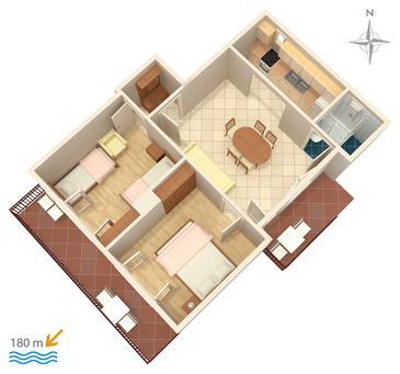 Bilo, Plan kwatery w zakwaterowaniu typu apartment, zwierzęta domowe są dozwolone i WiFi.