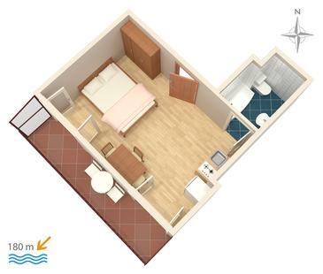 Bilo, Plan kwatery w zakwaterowaniu typu studio-apartment, dopusteni kucni ljubimci i WIFI.