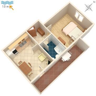 Ražanj, Půdorys v ubytování typu apartment, WiFi.