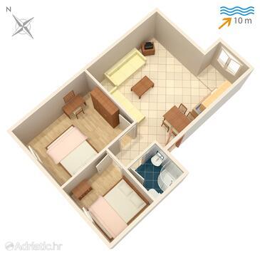 Rogoznica, Plan in the apartment, WIFI.