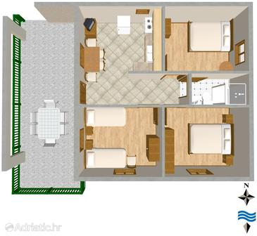 Primošten, Plan in the apartment, (pet friendly) and WiFi.