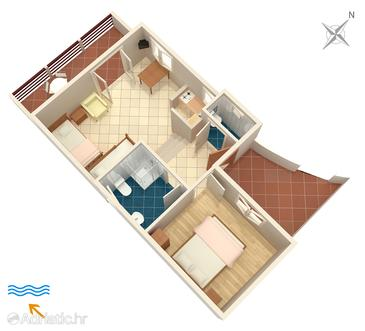 Nemira, plattegrond in the apartment, (pet friendly) en WiFi.