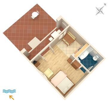 Nemira, Pôdorys v ubytovacej jednotke studio-apartment, domáci miláčikovia povolení a WiFi.