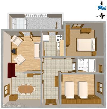 Vrbnik, Půdorys v ubytování typu apartment, WiFi.