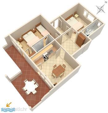 Tisno, Plan in the apartment, WiFi.