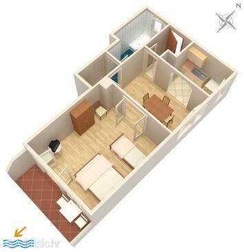 Tisno, План в размещении типа apartment, WiFi.