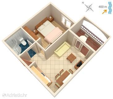 Tisno, Plan in the apartment, dopusteni kucni ljubimci i WIFI.