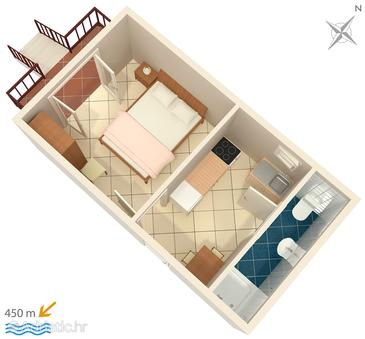 Biograd na Moru, План в размещении типа studio-apartment, WiFi.