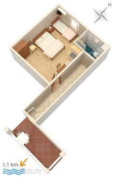Biograd na Moru, Půdorys v ubytování typu studio-apartment, WiFi.